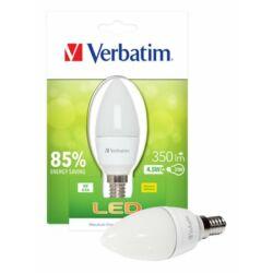 LED izzó, Classic B - gyertya, E14-es foglalat, 350lm, 4,5W, 2700K, meleg fény, bliszterben, VERBATIM