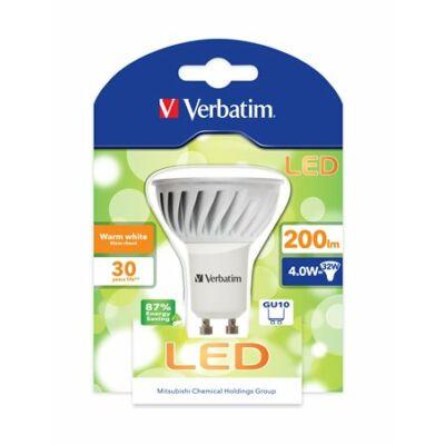 LED izzó, PAR16, GU10-es foglalat, 200lm, 4W, 3000K, meleg fény, bliszterben, VERBATIM