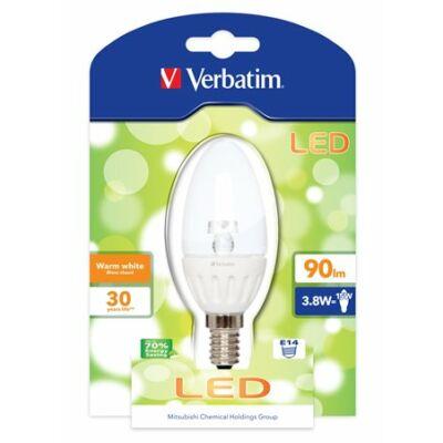 LED izzó, Classic B, E14-es foglalat, 90lm, 3,8W, 2700K, meleg fény, bliszterben, VERBATIM