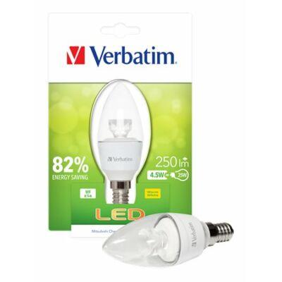 LED izzó, Classic B - gyertya, E14-es foglalat, 250lm, 4,5W, 2700K, meleg fény, bliszterben, VERBATIM