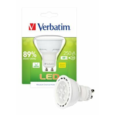 LED izzó, PAR16, GU10-es foglalat, 250lm, 4W, 2700K, meleg fény, bliszterben, VERBATIM