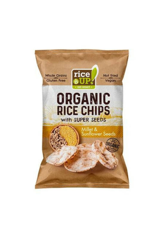 "Barnarizs chips, 25 g, RICE UP ""Bio"", kölessel és napraforgóval"