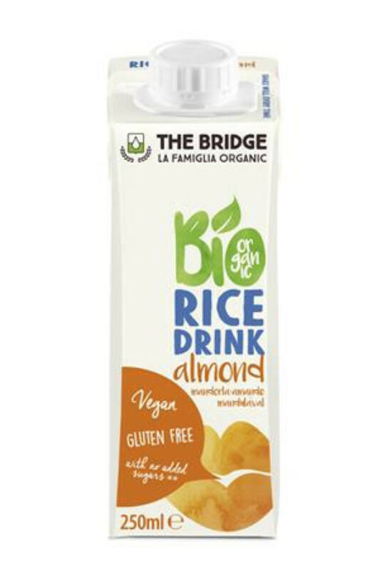 Növényi ital, bio, dobozos, 0,25 l, THE BRIDGE, rizs, mandulás