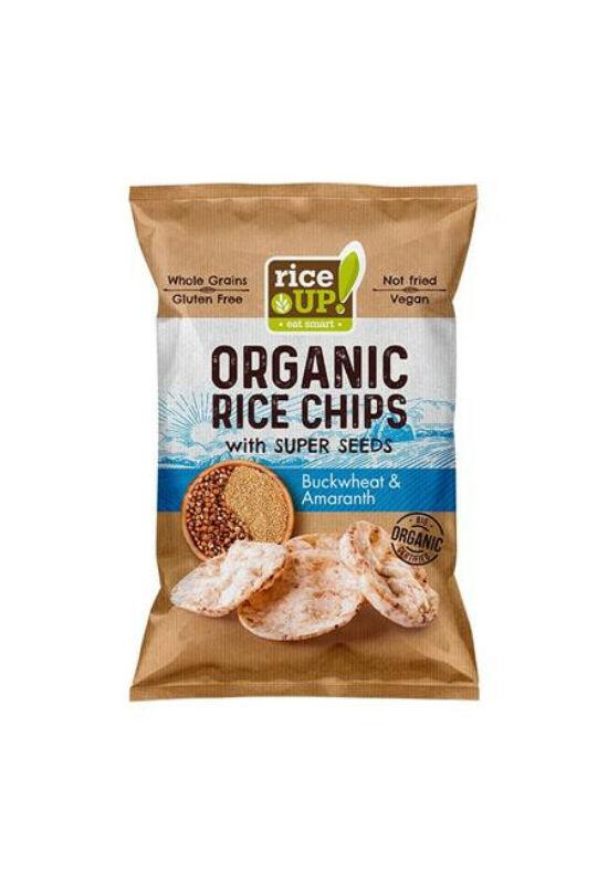 "Barnarizs chips, 25 g, RICE UP ""Bio"", hajdinával és amaránttal"